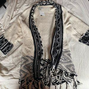 NWT Zara black and white knit fringe cardigan